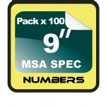"9"" Race Numbers MSA SPEC - 100 pack"